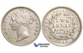 R73, East India Company, Victoria, 2 Annas 1841, Silver, Nice (Few marks)