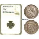 R734, Venezuela, 5 Centimos 1876-A, Paris, Silver, NGC AU50 (No serif)