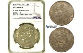 R737, Venezuela, 5 Bolivares 1919, Philadelphia, Silver, NGC AU Det.