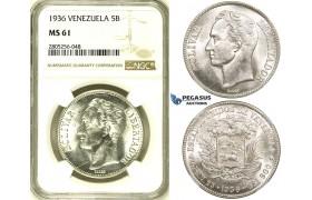 R739, Venezuela, 5 Bolivares 1936, Philadelphia, Silver, NGC MS61