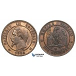R740, France, Napoleon III, 10 Centimes 1856-W, Lille, Brown XF