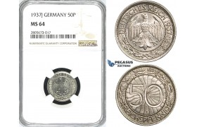 R741, Germany, Third Reich, 50 Reichpfennig 1937-J, Hamburg, NGC MS64