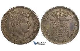 R743, Italy, Naples & Sicily, Ferdinand II, Piastra de 120 Grana 1838, Silver, Toned gVF