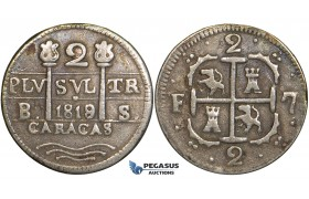 R745, Venezuela, 2 Reales 1819/8, Caracas, Silver, Toned VF (Possibly tooled)