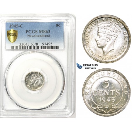 R748, Canada, Newfoundland, George VI, 5 Cents 1945-C, Silver, PCGS MS63 (Prooflike)