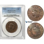 R750, United States, Coronet Head Cent 1832 Large Letters, PCGS AU50