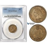 R751, United States, Indian Head Cent 1863, PCGS MS62