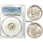 R756, United States, Mercury Dime (10C) 1916-S, San Francisco, Silver, PCGS MS62