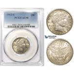 R758, United States, Barber Quarter Dollar (25C) 1912-S, San Francisco, Silver, PCGS AU58