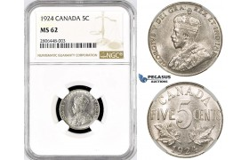 R767, Canada, George V, 5 Cents 1924, NGC MS62