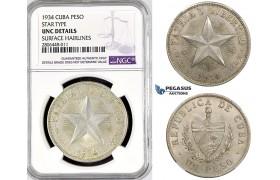 "R773, Cuba, ""Star Type"" Peso 1934, Philadelphia, Silver, NGC UNC Det."