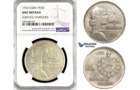 "R774, Cuba, ""ABC"" Peso 1936, Philadelphia, Silver, NGC UNC Det."