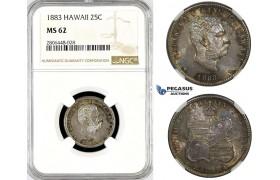 R782, Hawaii, Kalakaua I, 1/4 Dollar (25C) 1883, Silver, NGC MS62