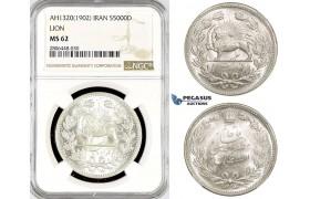 R783, Iran, Muzaffar al-Din Shah, 5000 Dinars AH1320 (1902) Silver, NGC MS62