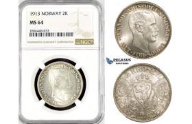 R786, Norway, Haakon VII, 2 Kroner 1913, Kongsberg, Silver, NGC MS64