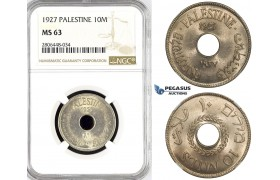 R788, Palestine, 10 Mils 1927, London, NGC MS63