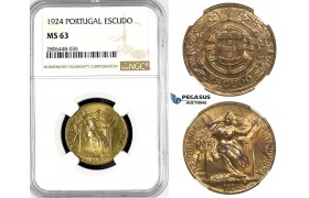 R789, Portugal, Escudo 1924, NGC MS63