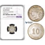 R791, Straits Settlements, Victoria, 10 Cents 1871, Silver, NGC AU Det.