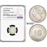 R792, Straits Settlements, Victoria, 10 Cents 1873, Silver, NGC AU Det.
