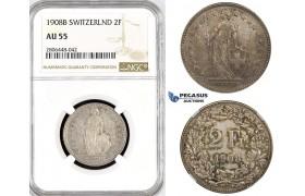 R794, Switzerland, 2 Francs 1908-B, Bern, Silver, NGC AU55