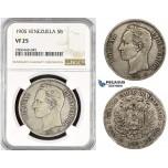 R797, Venezuela, 5 Bolivares 1905, Paris, Silver, NGC VF25