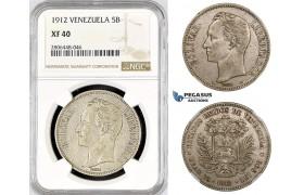 R798, Venezuela, 5 Bolivares 1912, Paris, Silver, NGC XF40, Rare!