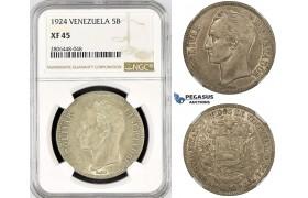 R799, Venezuela, 5 Bolivares 1924, Philadelphia, Silver, NGC XF45