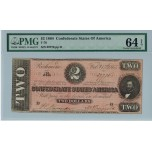 R801, Confederate States of America, Two Dollars ($2) 1864, T-70, PMG 64EPQ