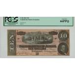 R802, Confederate States of America, Ten Dollars ($10) 1864, T-68, PCGS 66PPQ