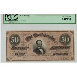 R803, Confederate States of America, Fifty Dollars ($50) 1864, T-66, PCGS 64PPQ