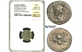 R81, Roman Empire, Divus Vespasian (69-79 AD) AR Denarius (3.36g) Rome, Posthumous issue, struck 80-81 AD under Titus, Capricorns, NGC VF