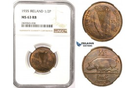R813, Ireland, Half Penny 1935, NGC MS63RB