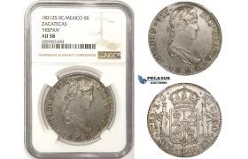 "R817, Mexico, Ferdinand VII, 8 Reales 1821 Zs RG, Zacatecas, Silver, NGC AU58 ""Hispan"""