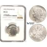 R819, Poland, 5 Zlotych 1933, Warsaw, Silver, NGC MS62