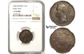 R822, Straits Settlements, Victoria, 1/2 Cent 1845 WW, NGC AU53BN