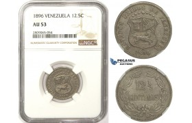 R826, Venezuela, 12 1/2 Centimos 1896, NGC AU53