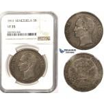 R829, Venezuela, 5 Bolivares 1911, Silver, NGC VF35
