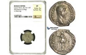 R83, Roman Empire, Lucius Verus (161-169 AD) AR Denarius (3.06g) Rome, 164 AD, Mars, NGC XF