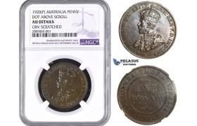R835, Australia, George V, Penny 1920 (P) Dot Above Lower Scroll, NGC AU Det. Very Rare!