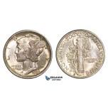 R837, United States, Mercury Dime (10C) 1923-S, San Francisco, Silver, Toned Lustrous Ch UNC, FB