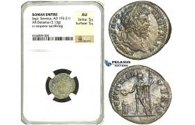 R84, Roman Empire, Septimius Severus (193-211 AD) AR Denarius (3.13g) Rome, 201 AD, NGC AU
