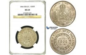 R89, Brazil, Pedro II, 1000 Reis 1856, Silver, NGC MS64