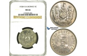 R90, British North Borneo, 5 Cents 1928-H, Heaton, NGC MS66 (Rare Grade)