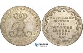 """R98, Denmark, Frederik VI, """"Offermark"""" 1/6 Rigsdaler 1808 MF, Copenhagen, Silver, AUNC"""