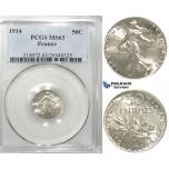 S06, France, Third Republic, 50 Centimes 1914, Paris, Silver, PCGS MS63