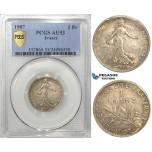 S08, France, Third Republic, Franc 1907, Paris, Silver, PCGS AU53