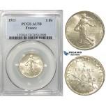 S09, France, Third Republic, Franc 1911, Paris, Silver, PCGS AU58