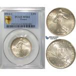 S13, France, Third Republic, 2 Francs 1914-C, Paris, Silver, PCGS MS64