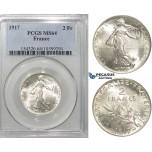 S16, France, Third Republic, 2 Francs 1917, Paris, Silver, PCGS MS64
