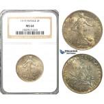S17, France, Third Republic, 2 Francs 1919, Paris, Silver, NGC MS64 (Rainbow toning)